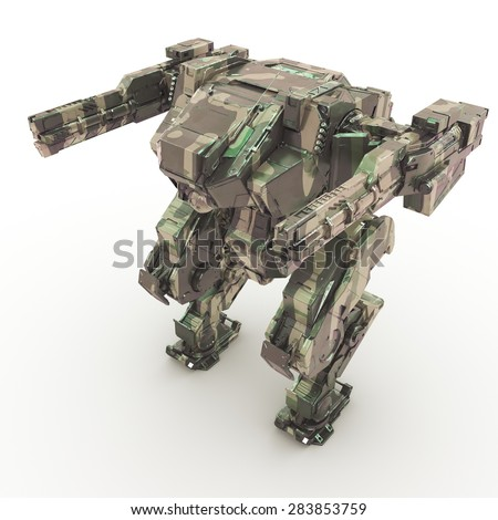 High quality 3d render of battle robot  #283853759