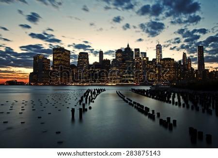 Golden sunset on lower Manhattan