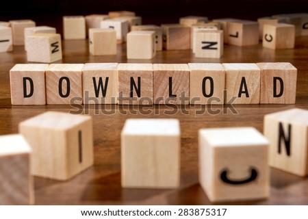 DOWNLOAD word written on wood block