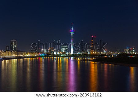 Dusseldorf at night on the rhine river in germany #283913102