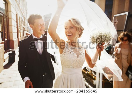 caucasian happy romantic young  couple celebrating their marriage Royalty-Free Stock Photo #284165645