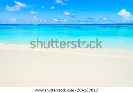 Tropical wave sea on the beach on blue sky background #284189819