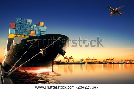 container ship in import export and business logistic Royalty-Free Stock Photo #284229047