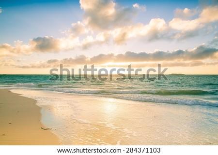 Beautiful beach sunset Australia #284371103