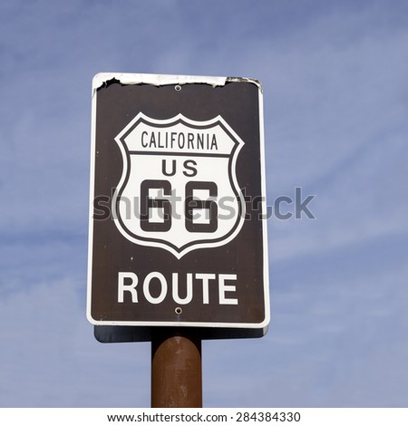 Classic California Route US 66 Highway sign