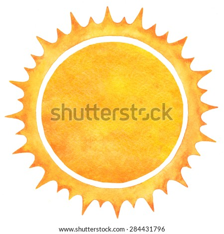 Watercolor sun with spiked crown isolated on white backdrop. Fire circle frame. Sun shape or flame border with space for text. Orange and yellow circle silhouette with rough edges. Raster version.