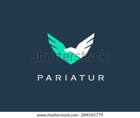 Abstract handshake, wings vector logo . Delivery, business, cargo, success, money, deal, contract, team, cooperation symbol icon. Corporate financial sign. #284565779