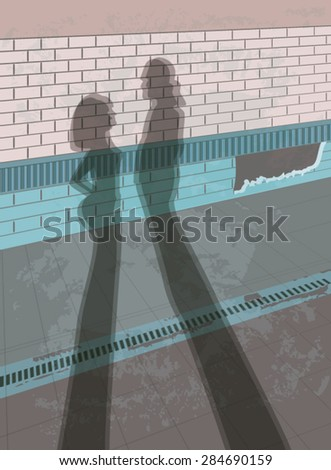Silhouette of couple on a wall background. Hand drawn Vector composition. #284690159