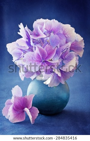 beautiful hydrangea flowers in a vase on a blue background .  #284835416