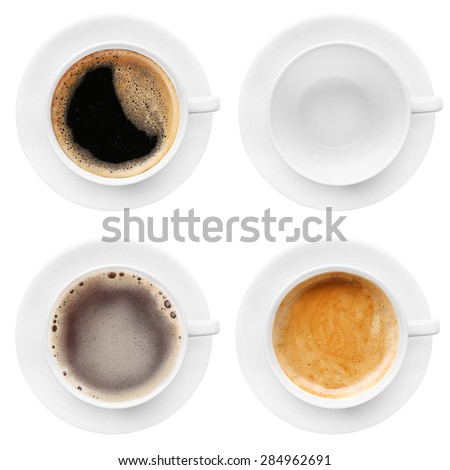 Cups of coffee isolated on white #284962691
