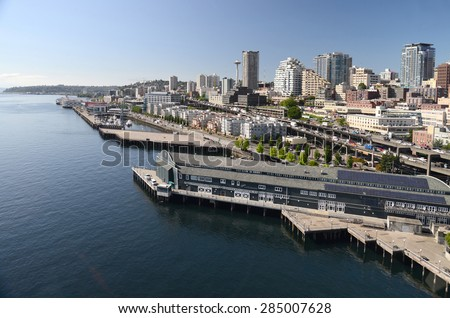 A panoramic view of the city piers on Seattle waterfront #285007628