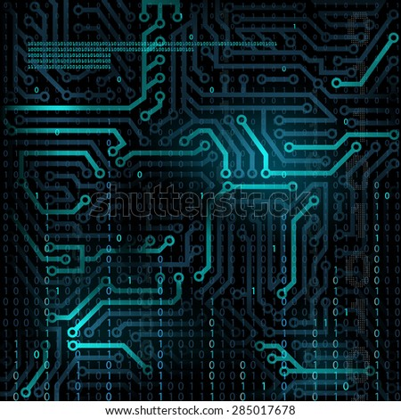 Abstract technology background. Microcircuit. Programming and binary code. #285017678