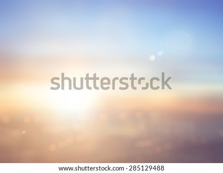 Summer holiday concept: Abstract blur city sunrise sky background