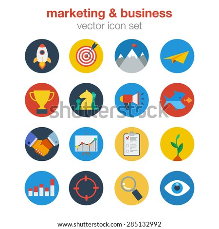 Flat marketing business design icon set. Web click infographics style vector illustration concept. Startup target digital goal mail prize trophy acquisition merger deal report invest search lookup.
