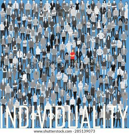 conceptual vector illustration with huge crowd of stylized people #285139073