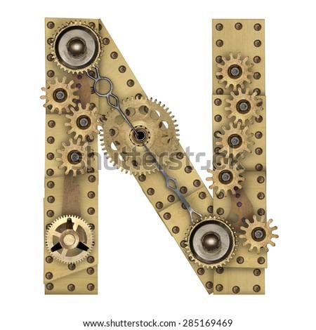 Steampunk mechanical metal alphabet letter N. Photo compilation