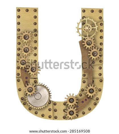 Steampunk mechanical metal alphabet letter U. Photo compilation