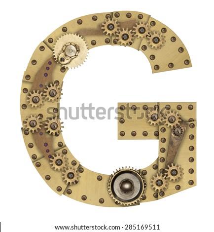Steampunk mechanical metal alphabet letter G. Photo compilation