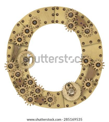 Steampunk mechanical metal alphabet letter O. Photo compilation
