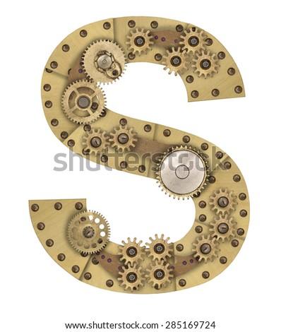 Steampunk mechanical metal alphabet letter S. Photo compilation