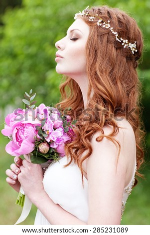 Beautiful bride portrait with pearl accessory. Fairy tail