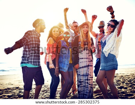 Teenagers Friends Beach Party Happiness Concept #285302375