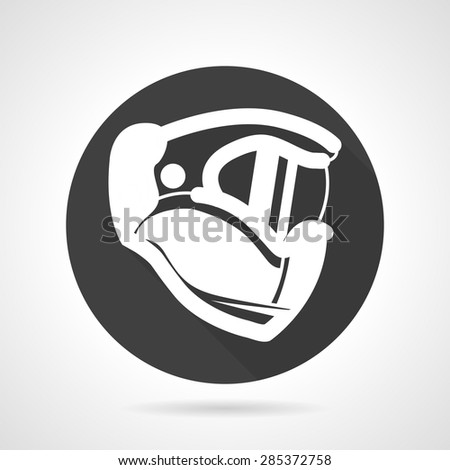 Single black round flat style vector icon with white silhouette sport helmet for paintball and airsoft on gray background.