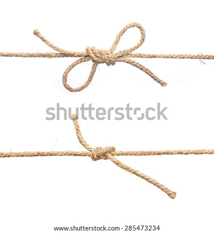 Rope with knot, with knot and bowknot, isolated on white. Royalty-Free Stock Photo #285473234