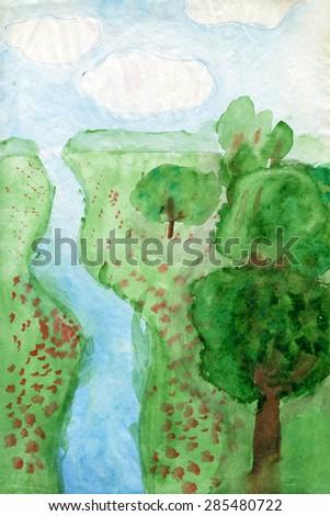 """Children's drawings """"Landscape"""" #285480722"""