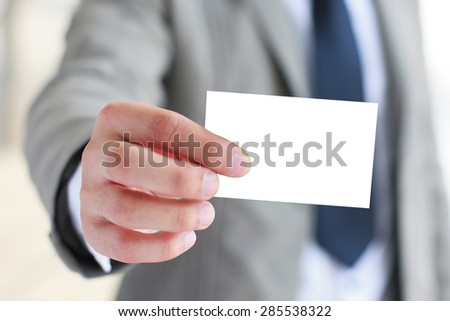 Businessman showing business card. #285538322