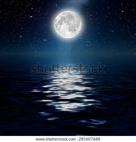 backgrounds night sky with stars, moon and clouds. Sea. Elements of this image furnished by NASA