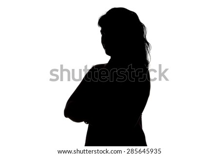 Silhouette of smiling woman on white background #285645935