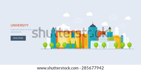 Flat design modern vector illustration icons set of global education, online training courses, staff training, specialization, tutorials. School and university building icon. Urban landscape.  #285677942
