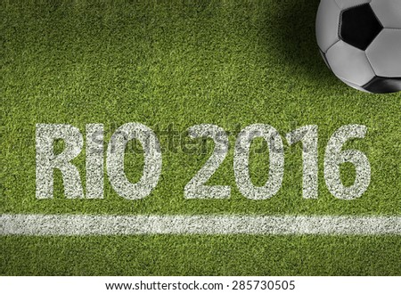 Soccer field with the text: RIO 2016 #285730505