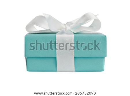 Side view of turquoise isolated gift box with white ribbon on white background with path #285752093