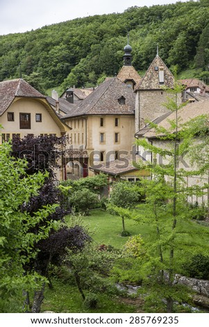 General vieuw of the mountain village of Romainmotier-Envy - Switzerland #285769235