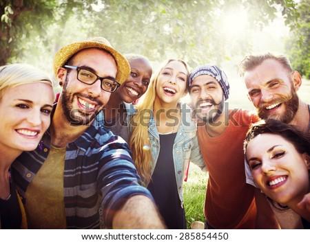Diverse Summer Friends Fun Bonding Selfie Concept