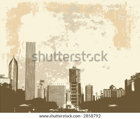 Grunge style view of Chicago skyline from Buckingham Fountain