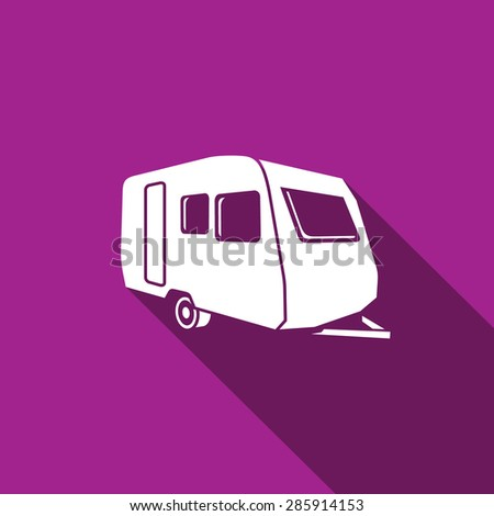 Auto trailers Isolated Flat Icon on a purple background for design.