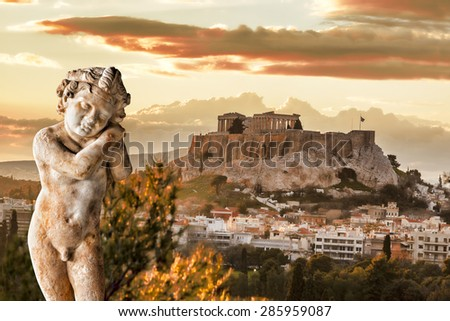 Acropolis with sculpture and Parthenon temple in Athens,  Greece #285959087