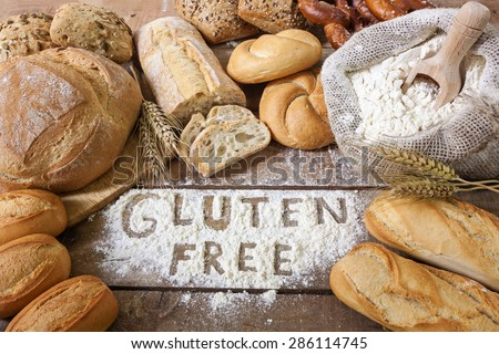 A gluten free breads on wood background Royalty-Free Stock Photo #286114745