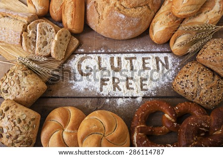 A gluten free breads on wood background Royalty-Free Stock Photo #286114787