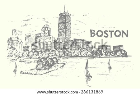 Boston hand drawn style