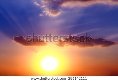 Beautiful  Sunset at Roi-et Thailand. (soft focus ) #286142111
