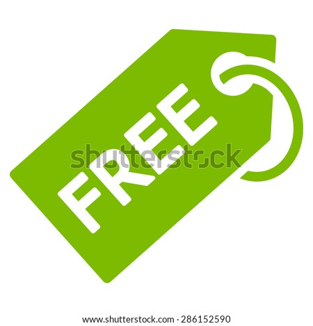 Free tag icon from Business Bicolor Set. This flat vector symbol uses eco green color, rounded angles, and isolated on a white background.