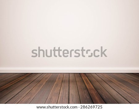 hardwood floor and white wall Royalty-Free Stock Photo #286269725