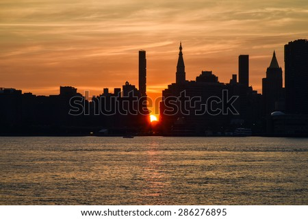 One day before May 2015 Manhattanhenge /Manhattanhenge sun set of New York / Unfortunately May 29,30,31 were cloudy and no show but 28 was only one chance to see.