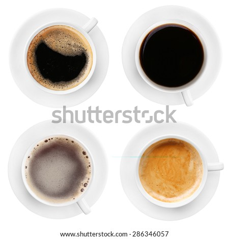 Cups of coffee isolated on white #286346057