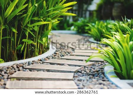 Alley in tropical garden, Koh Samui, Thailand #286362761