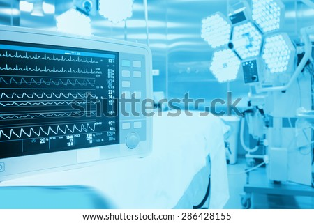 Monitoring of patient in surgical operating room in modern hospital #286428155